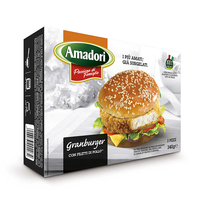 """Menabò, agenzia di comunicazione a Forlì, per la linea """"I più amati, già surgelati"""" di Amadori"""" - Packaging astuccio gran burger"""