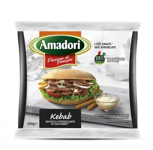 """Menabò, agenzia di comunicazione a Forlì, per la linea """"I più amati, già surgelati"""" di Amadori"""" – Packaging busta350gr kebab"""