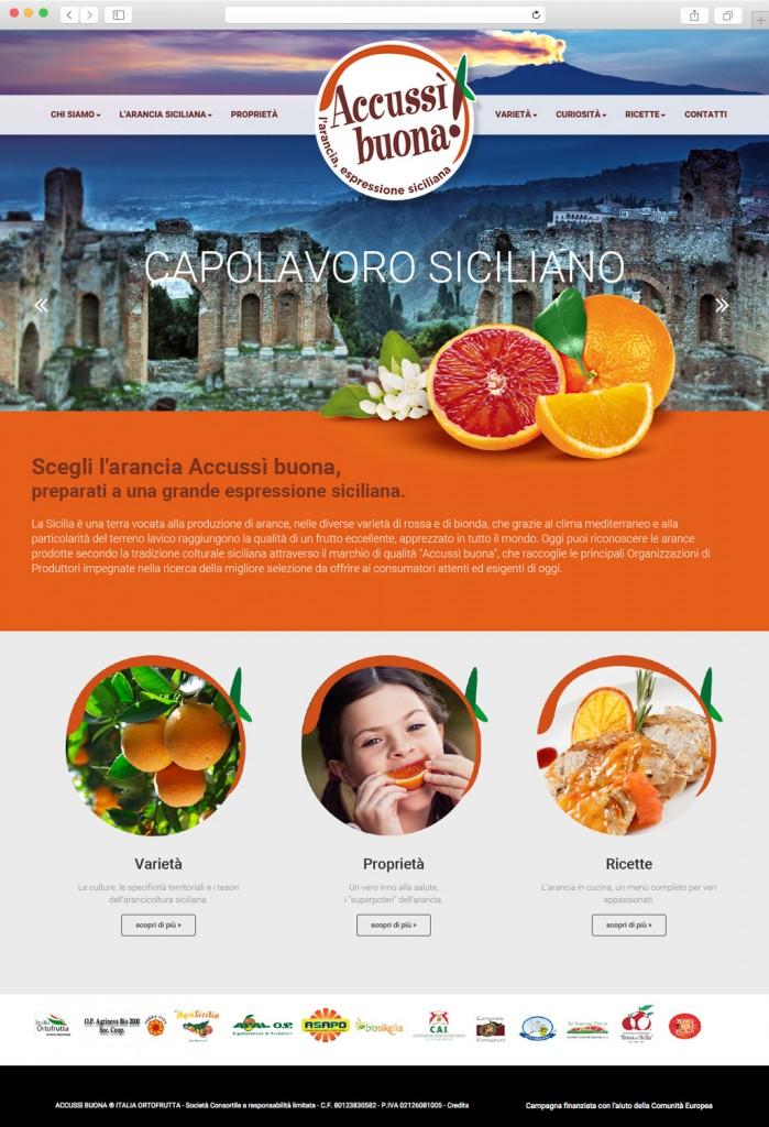 Menabò, agenzia di comunicazione a Forlì, per Accussì Buona - Homepage nuovo sito