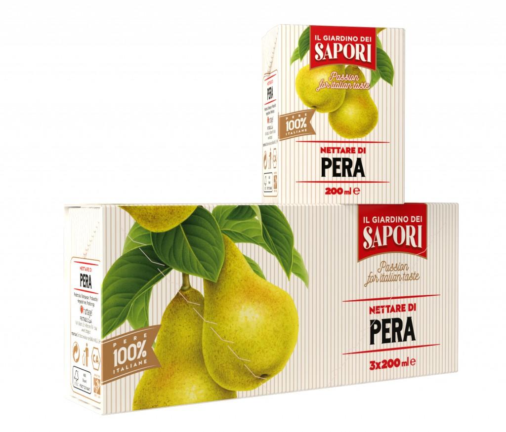 """Menabò, agenzia di comunicazione a Forlì, per la linea """"Giardino dei Sapori"""" di Fruttagel - Packaging blister 200 ml pera"""