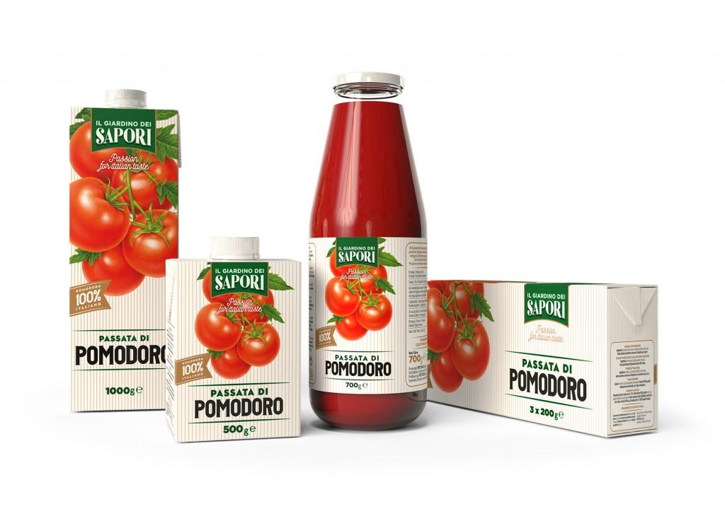 """Menabò, agenzia di comunicazione a Forlì, per la linea """"Giardino dei Sapori"""" di Fruttagel - Packaging passata di pomodoro"""
