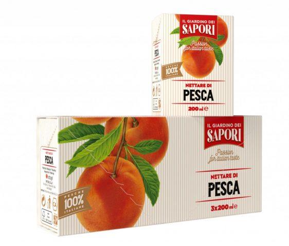 """Menabò, agenzia di comunicazione a Forlì, per la linea """"Giardino dei Sapori"""" di Fruttagel – Packaging blister 200 ml pesca"""