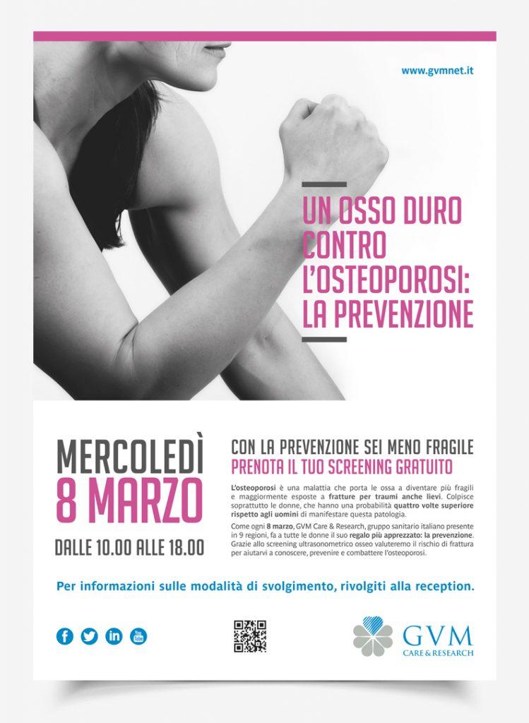 Menabò, agenzia di comunicazione a forlì, per la campagna di prevenzione dell'osteoporosi di GVM - Locandina