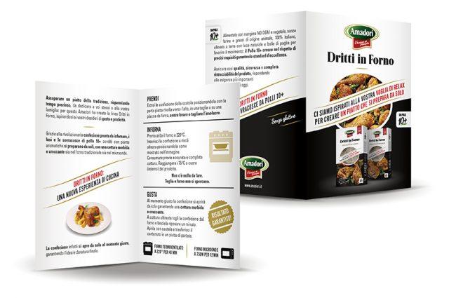 Menabò, agenzia di comunicazione a forlì, per la linea Dritti in Forno di Amadori - Leaflet