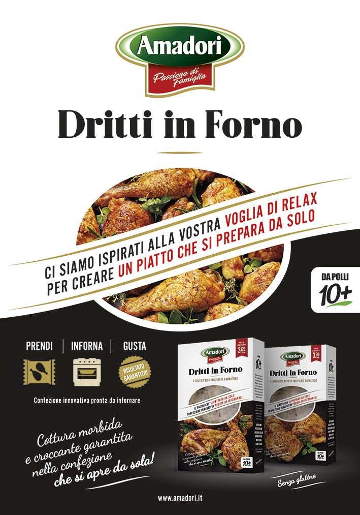 Menabò, agenzia di comunicazione a forlì, per la linea Dritti in Forno di Amadori - Locandina