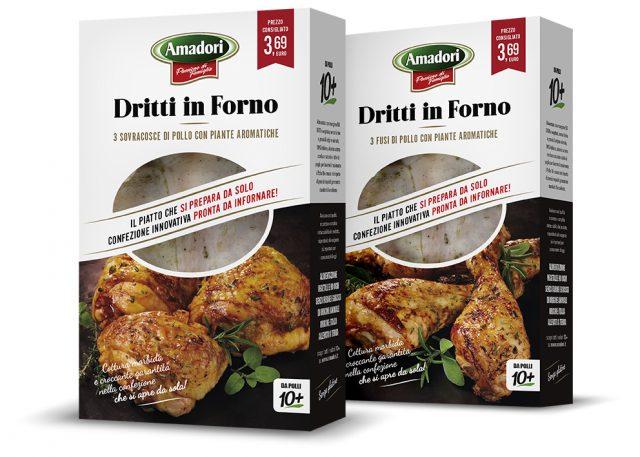 Menabò, agenzia di comunicazione a forlì, per la linea Dritti in Forno di Amadori - Packaging